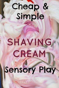 A simple sensory activity with shaving cream - so cheap and fun! Sensory Tubs, Sensory Activities Toddlers, Pre K Activities, Sensory Boxes, Sensory Play, Children Activities, Summer Activities, Creative Teaching, Teaching Ideas
