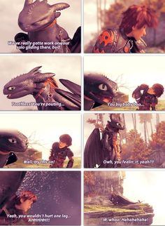 I love the part were toothless just drops h then crush him with his head and then starts licking him