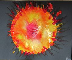 Sun Paintings!  Put globs of yellow and red finger paint on a circle, cover it with saran wrap, and squish!  Squish and swirl the paint to your heart's content and then remove the plastic wrap and voila! a miasma of incandescent plasma :)