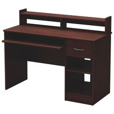 South Shore Axess Desk - Royal Cherry nice - Online Only Home Office Setup, Office Desk, Contemporary Desk, Work Desk, Storage Compartments, Hidden Storage, Staying Organized, Open Concept, Homework