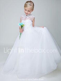 Ball Gown Ankle Length Flower Girl Dress - Tulle Sleeveless High Neck with Beading Appliques by Lovelybees 2018 - $69.99