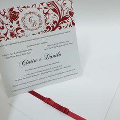 (#12) Convite de casamento de aba reta