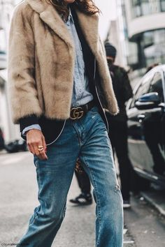 fur jacket | gucci belt | jeans outfit | winter outfit ideas