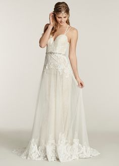 Ti Adora Bridal Gowns, Wedding Dresses Style 7560 Ivory / Cashmere A-line bridal gown with placed lace throughout. Sweetheart neckline with jeweled closures at back, crystal embroidered trim at the natural waist. by JLM Couture, Inc.