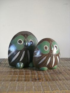 Pair of Vintage Mexican Pottery Owls by sofralma on Etsy, $50.00