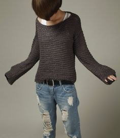 Simple is the best - Hand knitted sweater Eco cotton oversized in Charcoal  Moda De Punto 48b87efcf59