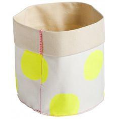 Small Storage Basket by La Cerise Sur La Gateau - Yellow Dots Soft Toy Storage, Toy Storage Bags, Small Storage, Storage Baskets, Monochrome Nursery, Kids Boutique, Modern Kids, Stylish Kids, Fashion Room