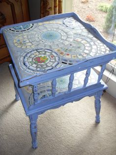 Pale Blueberry Shabby Chic Mosaic Topped Table by MedallionHouse, $325.00