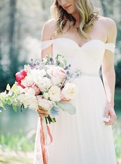 Romantic Pink and Blush Bouquet with Hints of Blue | Heather Payne Fine Art Photography | http://heyweddinglady.com/enchanted-garden-wedding-colorful-summer-florals/