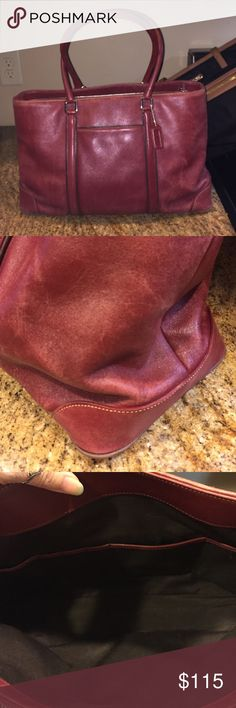 "COACH Hamptons Leather Business Carryall Burgundy leather tote with double handles and 1 exterior slip pockets (perfect for business cards).  Clean interior with 3 compartments, 1 zippered.  Slip pockets for cards, pens , etc and 1 zip pocket.  No major issues, some of the pipe edging shows wear and the leather is showing a vintage look (which is very nice in my opinion!).   10"" tall x 16"" wide x 6"" deep, with a 9"" strap drop.  Price is firm unless bundled, no offers please. Coach Bags Totes"
