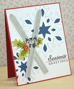 Season's Greetings Skis Card by Nichole Heady for Papertrey Ink (September 2013)