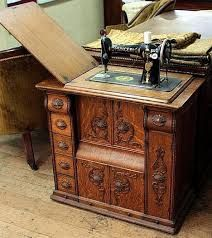 Image result for sewing machine in wooden desk vintage