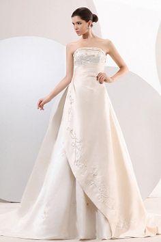 Satin Sweetheart Luxury Bridal Gowns - Order Link: http://www.theweddingdresses.com/satin-sweetheart-luxury-bridal-gowns-twdn0660.html - Embellishments: Beading , Embroidery , Draped , ; Length: Chapel Train; Fabric: Satin; Waist: Empire - Price: 156.71USD