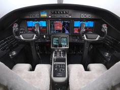 The cockpit avionics include three LCD displays and two touch screen control panels. Image courtesy of the Cessna Aircraft Company. - Image - Aerospace Technology