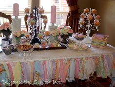 "Shower/party dessert table - knotted fabric/ribbon pieces as ""fringe"" - could also use some tulle?"