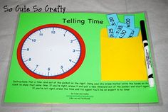 Telling Time Educational Busy Bag via Etsy, great for kids when learning to tell time, use over and over again, digital times are in envelope, kids write it on clock, fully laminated!