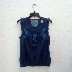 Free People Blue Embroidered Blouse Free People, tag size says 1 (fits like a small), excellent condition! A gorgeous and simple boho top, perfect for spring! Embroidered on front at neck in back. Rough hem ruffles on sleeves. Please ask any and all questions before purchasing. No trades. Make a reasonable offer. Thanks! Free People Tops Blouses
