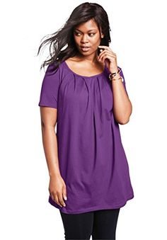 Women's Tunics - Roamans Womens Plus Size Pleat Neck Trapeze Max Tunic ** Visit the image link more details. (This is an Amazon affiliate link)