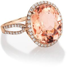 Blue Nile Morganite and Diamond Ring in 14k Rose Gold ($1,750) ❤ liked on Polyvore