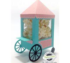 FREE»DIY 3D cut file -- Shape 11: Silhouette Brazil--- popcorn cart fair fun carnival summer favour box treat gift WOW!