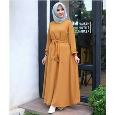 Dahlia dress Bahan ballotely ukuran all size M,L,XL harga   Hijab Style Dress, Modest Fashion Hijab, Modern Hijab Fashion, Muslim Women Fashion, Islamic Fashion, Abaya Fashion, African Fashion Dresses, Fashion Wear, Fashion Outfits