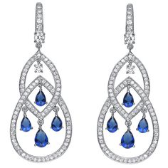 Collette Z Platinum over Sterling Silver Blue and Clear Cubic Zirconia Earrings - Overstock™ Shopping - Top Rated Collette Z Cubic Zirconia Earrings