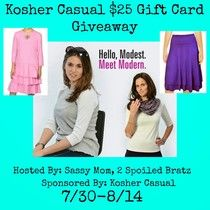 $25 Kosher Casual Gift Card Giveaway! (US, ARV $25, Ends 8/14)