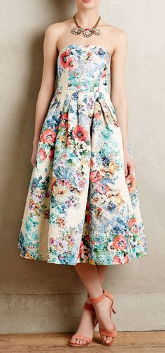 A.B.S. by Allen Schwartz mint floral woven strapless flared dress ...