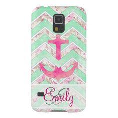 Monogram Pink Nautical Anchor Teal Floral Chevron Galaxy S5 Case