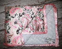 Design your own Soft and Luxurious Charmeuse Satin and Rose Cuddle Minky Blanket Adult Size. $80.00, via Etsy.