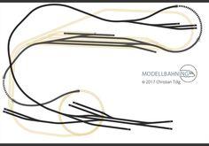 Plan de voie HO-Maerklin-C-voie-dérivation ligne-avec-terminus-002 Image Train, N Scale Layouts, Train Room, Rolling Stock, Planer, Hair Accessories, Diorama, Track, Fishing Line
