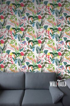 Seamless Self Adhesive Forest Flowers Pattern Wallpaper - Removable Vintage Wall Decal - Garden Flowers Wall Stickers - Temporary Wallpapers by WallHalla on Etsy https://www.etsy.com/listing/293021201/seamless-self-adhesive-forest-flowers