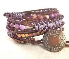 Lavender Leather Wrap Bracelet  4x with Macrame by neferknots