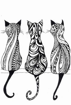 Items similar to Drei Katzen, Monochrom Drucken der Originalzeichnung on Etsy… Items similar to Three Cats, Monochrome Print the original drawing on Etsy Cat Clipart, Art Drawings, Monochrome Prints, Cat Coloring Page, Drawings, Line Art, Cat Art, Zentangle Drawings, Cat Tattoo