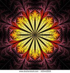 Abstract flower mandala on black background. Symmetrical pattern in dark red…