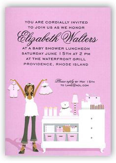 Doc Milo - Pink Changing Table African American Invitation