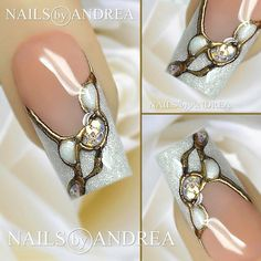 White sparkle with gold design