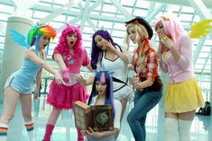 Standing, from left to right) Rainbow Dash, Pinkie Pie, Rarity, Applejack, Fluttershy and Twilight Sparkle (Sitting, with book) from My Little Pony