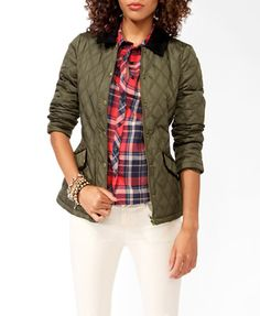 Corduroy Trimmed Puffer Jacket - Forever 21