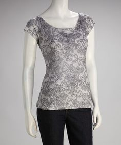 Take a look at this Gray Lovely Lace Short-Sleeve Top by Love Couture on #zulily today!
