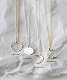 Simple Moon Necklaces in 14k Gold Fill, Sterling Silver or Rose Gold Fill. These Moon Phase Necklaces are dainty and gorgeous! Choose your phase: new moon, full moon, waxing moon or waning moon. All hand-made and unique. T H E ∙ M O O N ∙ P H A S E S ∙ N E C K L A C E …………………………………. D