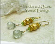 Vermeil Gemstone Earrings  Peridot and Quartz Crystal by SilverEnchantments