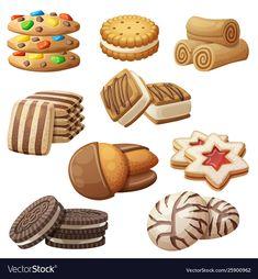 Set cookie icons cartoon vector image on VectorStock Cute Food Art, Food Clipart, Cute Food Drawings, Set Cookie, Princess Cartoon, Food Concept, Yummy Cookies, Food Illustrations, Vector Free
