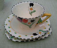 British (Art Deco) Date Range Burleigh Pottery Sep 2016, Teacups, Afternoon Tea, Cup And Saucer, Tea Time, Fragrance, Art Deco, Clay, Pottery