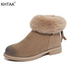 KHTAA Chaussures Femmes D hiver Zip à la Cheville Fourrure Bas Talons  Plate-Forme 22f3640a5ee
