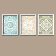 Beige Green Aqua Flower Radial Sun Burst Doilies Tribal Artwork Set of 3 Trio Prints WALL Decor Abstract ART Picture Bathroom Bedroom