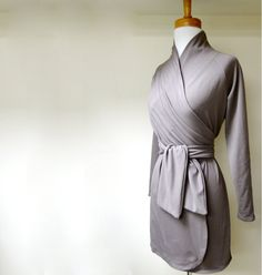 Short wrap dress with shawl collar  organic womens by econica, $95.00