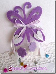 Farfalle in feltro e sacchettini in organza