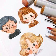 Cartoon Art Styles, Cartoon Drawings, Cute Drawings, Cute Illustration, Character Illustration, Watercolor Illustration Children, Arte Sketchbook, Character Drawing, Cute Art