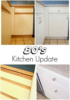 Update your ugly kitchen with some paint and new hardware. This handy tutori… Update your ugly kitchen with some paint and new hardware. This handy tutorial will show you how I transformed our melamine and oak cabinets and brought our… Formica Cabinets, Melamine Cabinets, Oak Kitchen Cabinets, Kitchen Redo, Kitchen Paint, Tv Cabinets, Contact Paper Kitchen Cabinets, Rental Kitchen Makeover, 1920s Kitchen